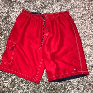 TOMMY HILFIGER Red Cargo Board Shorts M Lifeguard